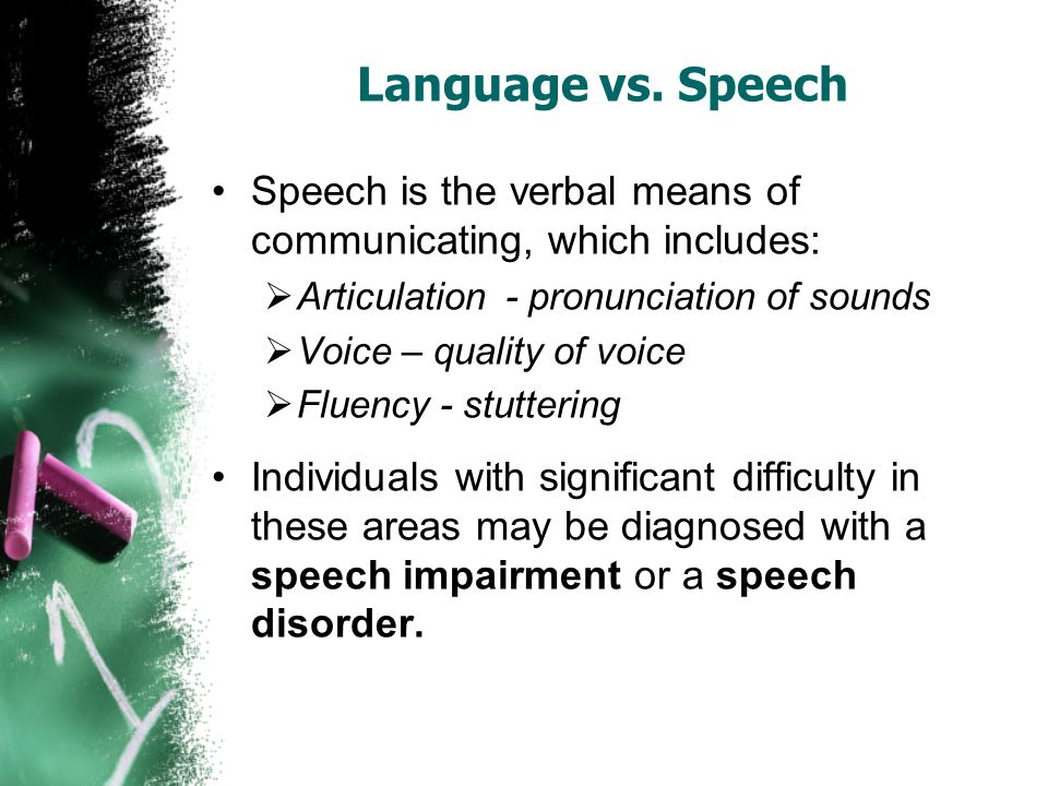 Language vs. Speech Speech is the verbal means of communicating, which includes:  Articulation - pronunciation of sounds  Voice – quality of voice 