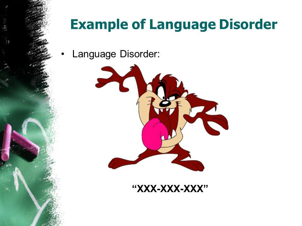 Example of Language Disorder Language Disorder: XXX-XXX-XXX