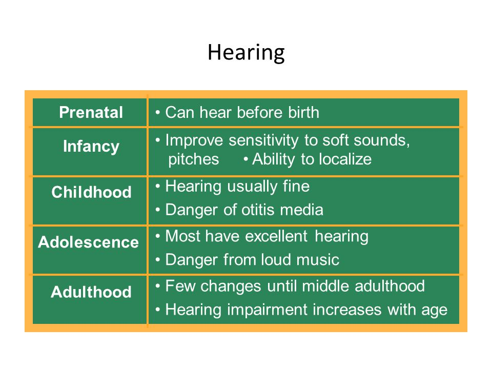 Hearing Prenatal Can hear before birth Infancy Improve sensitivity to soft sounds, pitches Ability to localize Childhood Hearing usually fine Danger of otitis media Adolescence Most have excellent hearing Danger from loud music Adulthood Few changes until middle adulthood Hearing impairment increases with age