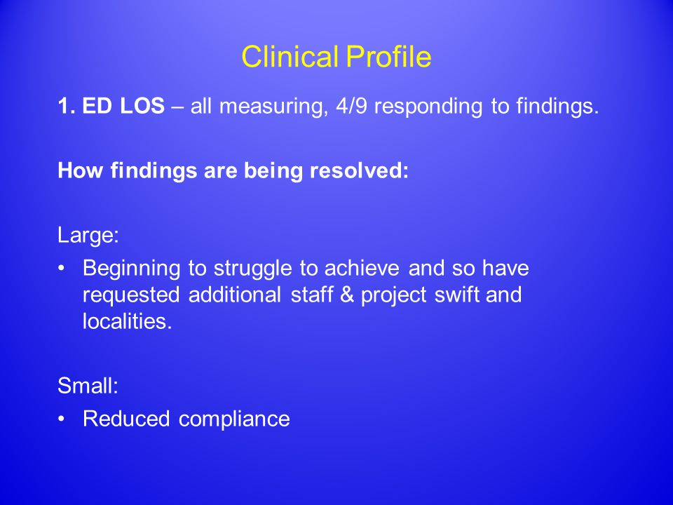 Clinical Profile 1. ED LOS – all measuring, 4/9 responding to findings.