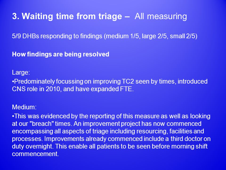 3. Waiting time from triage – All measuring 5/9 DHBs responding to findings (medium 1/5, large 2/5, small 2/5) How findings are being resolved Large: