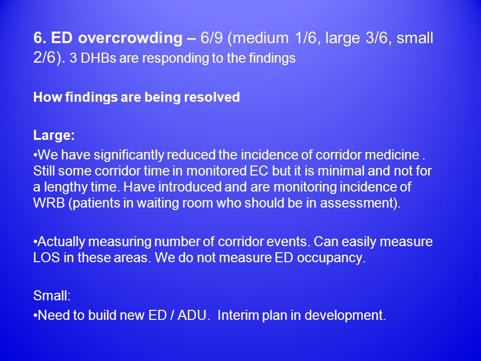 6. ED overcrowding – 6/9 (medium 1/6, large 3/6, small 2/6).