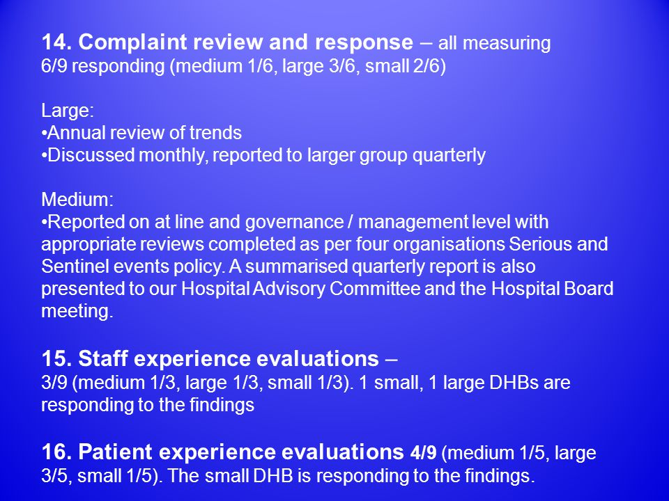 14. Complaint review and response – all measuring 6/9 responding (medium 1/6, large 3/6, small 2/6) Large: Annual review of trends Discussed monthly,