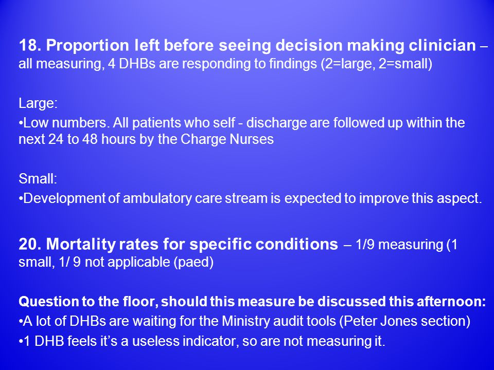 18. Proportion left before seeing decision making clinician – all measuring, 4 DHBs are responding to findings (2=large, 2=small) Large: Low numbers.