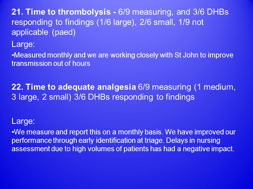 21. Time to thrombolysis - 6/9 measuring, and 3/6 DHBs responding to findings (1/6 large), 2/6 small, 1/9 not applicable (paed) Large: Measured monthl