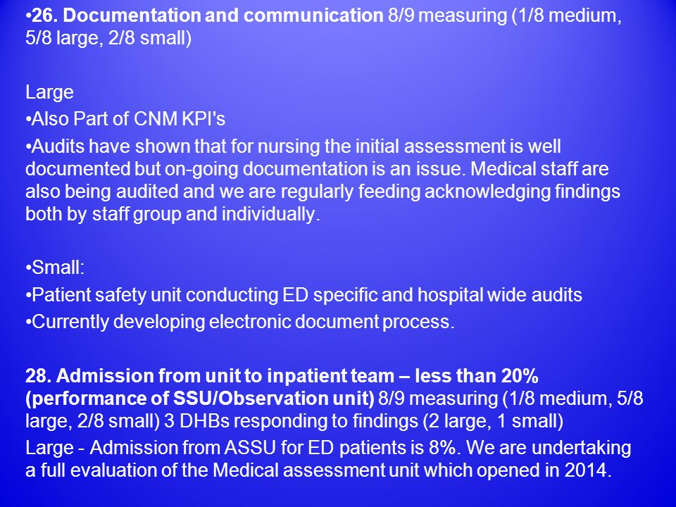 26. Documentation and communication 8/9 measuring (1/8 medium, 5/8 large, 2/8 small) Large Also Part of CNM KPI's Audits have shown that for nursing t