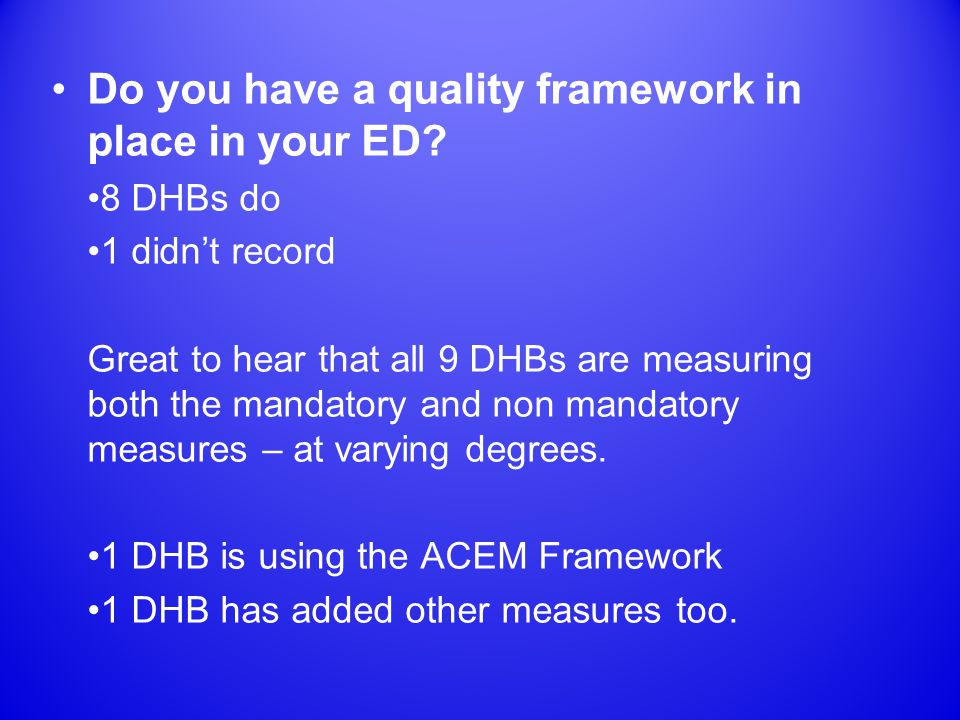 Do you have a quality framework in place in your ED.