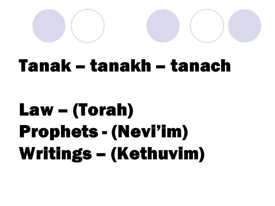 Tanak – tanakh – tanach Law – (Torah) Prophets - (Nevi'im) Writings – (Kethuvim)