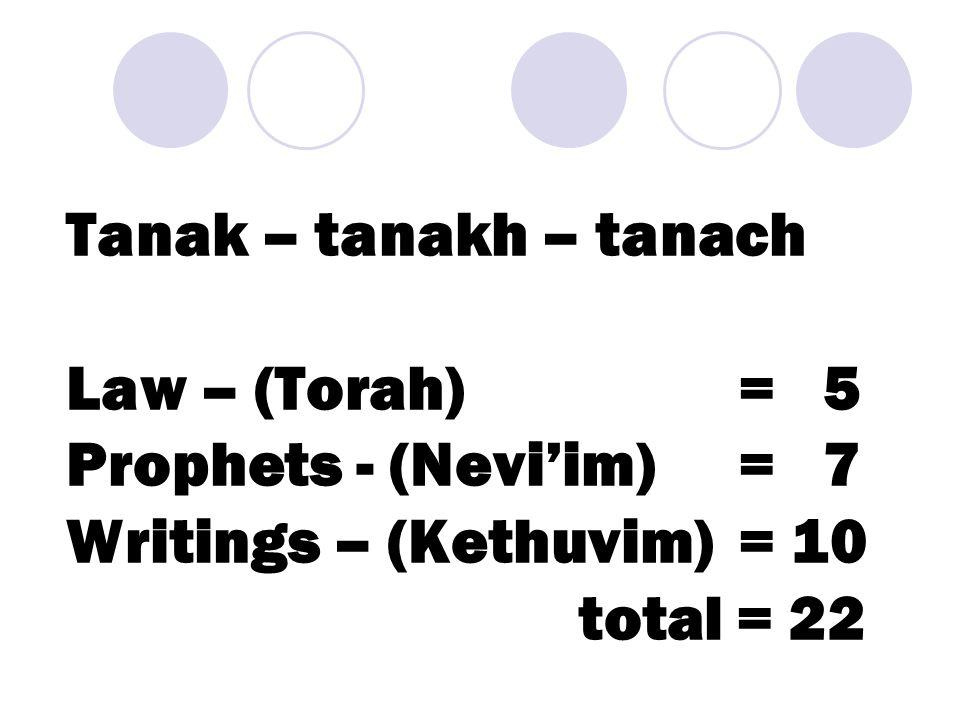 Tanak – tanakh – tanach Law – (Torah) = 5 Prophets - (Nevi'im) = 7 Writings – (Kethuvim)= 10 total = 22