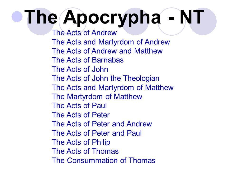 The Apocrypha - NT The Acts of Andrew The Acts and Martyrdom of Andrew The Acts of Andrew and Matthew The Acts of Barnabas The Acts of John The Acts of John the Theologian The Acts and Martyrdom of Matthew The Martyrdom of Matthew The Acts of Paul The Acts of Peter The Acts of Peter and Andrew The Acts of Peter and Paul The Acts of Philip The Acts of Thomas The Consummation of Thomas