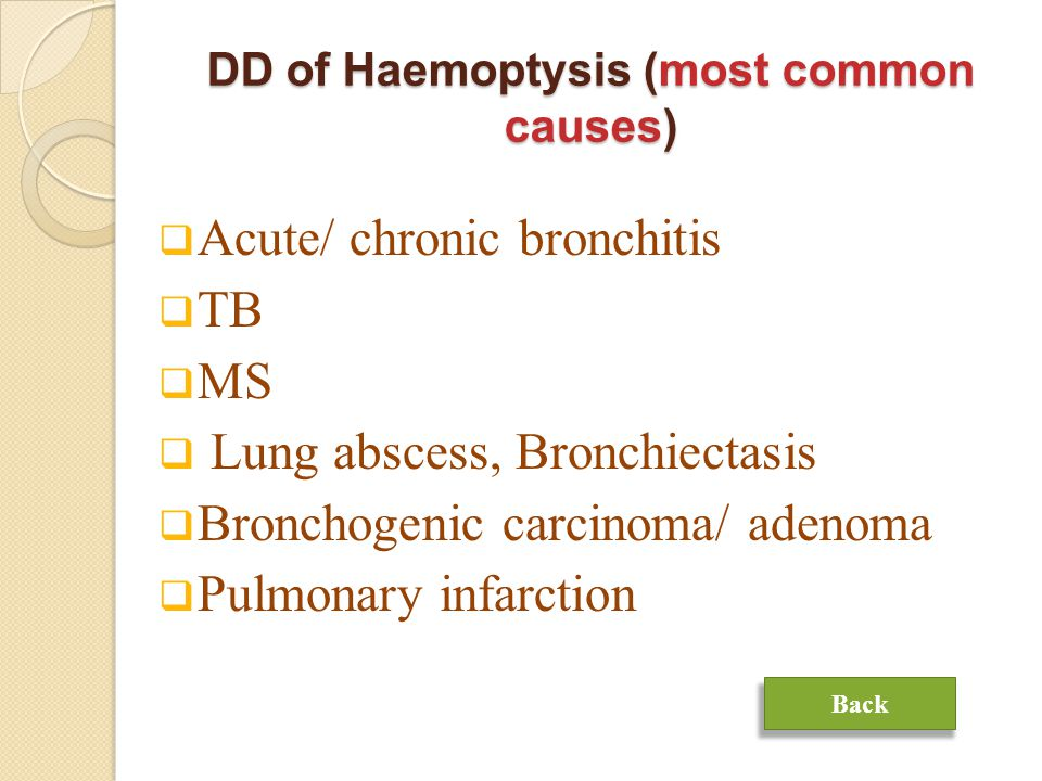 DD of Haemoptysis (most common causes)  Acute/ chronic bronchitis  TB  MS  Lung abscess, Bronchiectasis  Bronchogenic carcinoma/ adenoma  Pulmonary infarction Back
