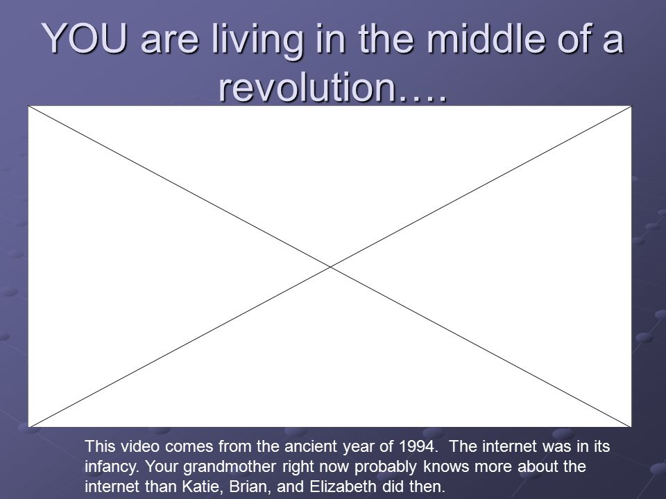YOU are living in the middle of a revolution…. This video comes from the ancient year of 1994.