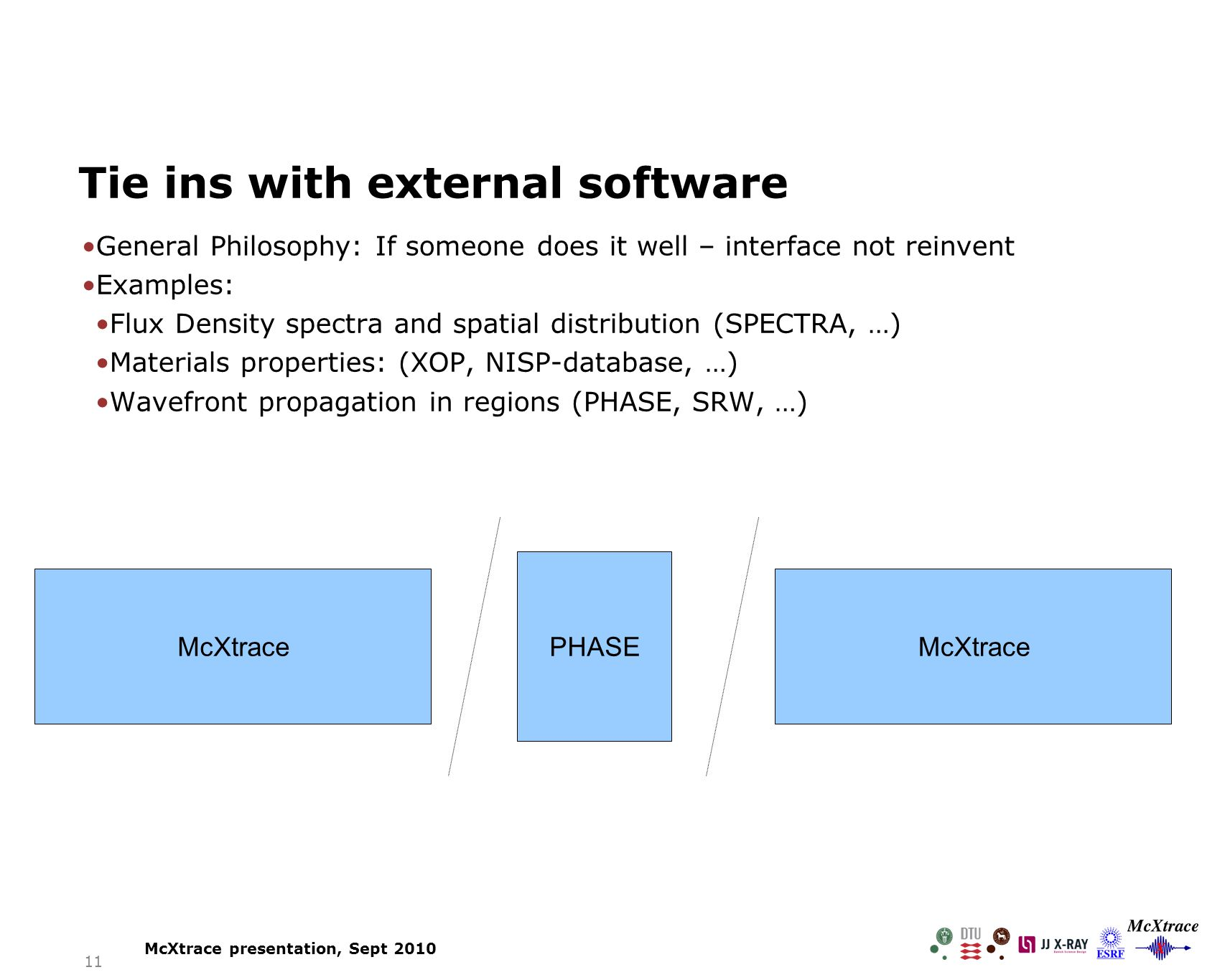11 Tie ins with external software General Philosophy: If someone does it well – interface not reinvent Examples: Flux Density spectra and spatial distribution (SPECTRA, …) Materials properties: (XOP, NISP-database, …) Wavefront propagation in regions (PHASE, SRW, …) McXtrace PHASE McXtrace McXtrace presentation, Sept 2010