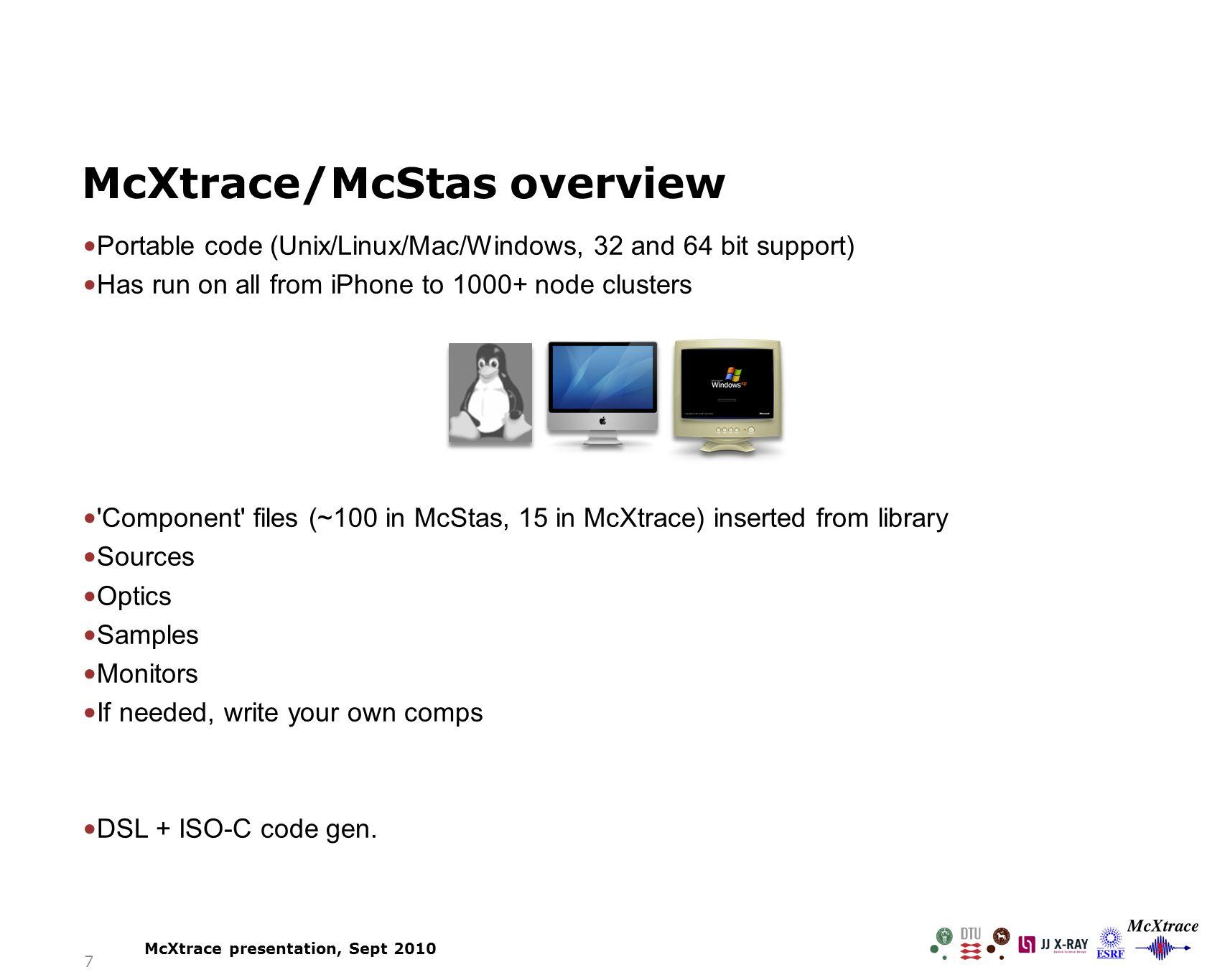 Mc-Xtrace simulation McXtrace presentation, Sept 2010 500μm10μm 18