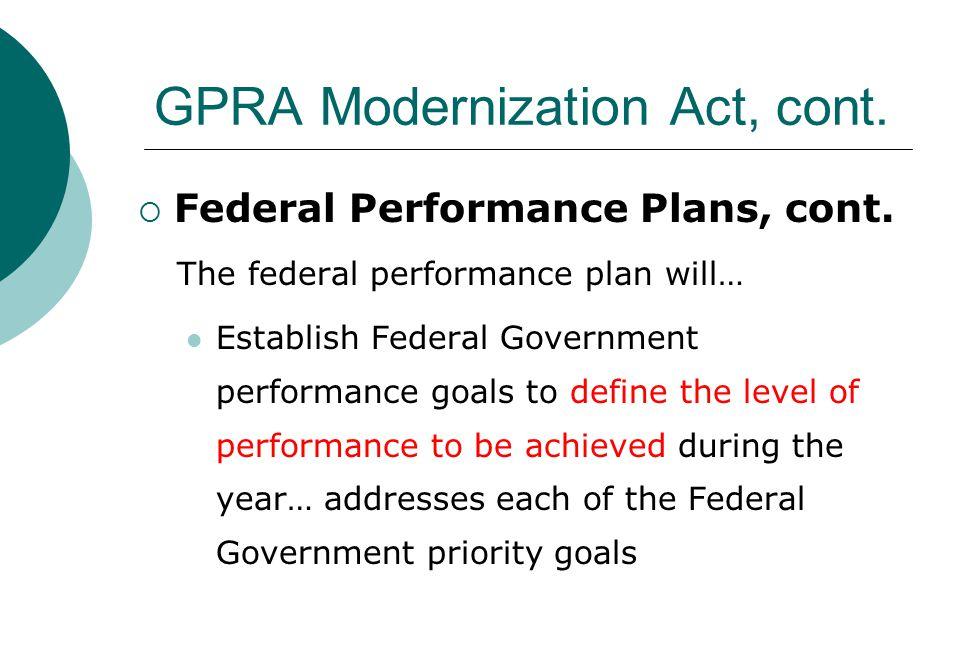 GPRA Modernization Act, cont.  Federal Performance Plans, cont.