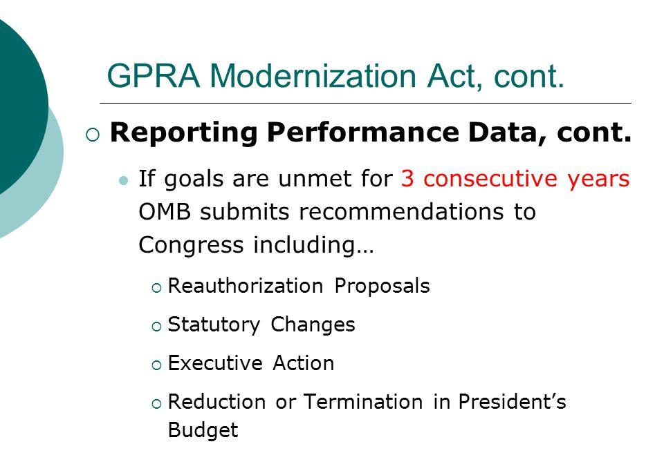 GPRA Modernization Act, cont.  Reporting Performance Data, cont.