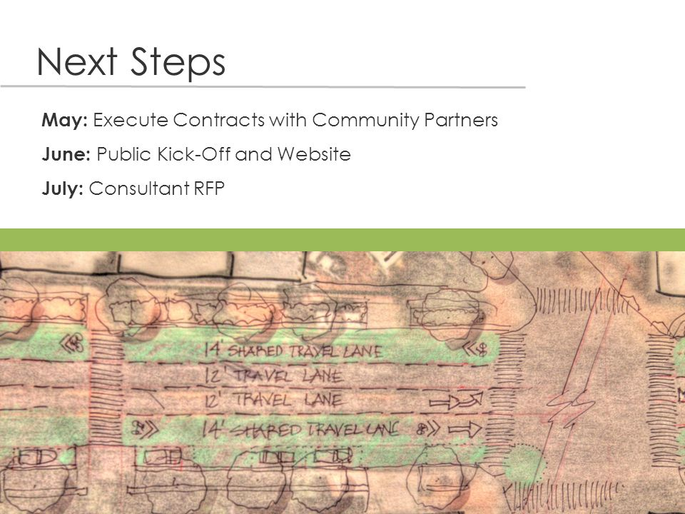 Next Steps May: Execute Contracts with Community Partners June: Public Kick-Off and Website July: Consultant RFP