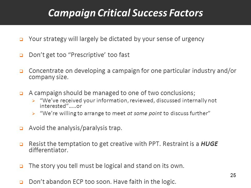"""25  Your strategy will largely be dictated by your sense of urgency  Don't get too """"Prescriptive' too fast  Concentrate on developing a campaign fo"""
