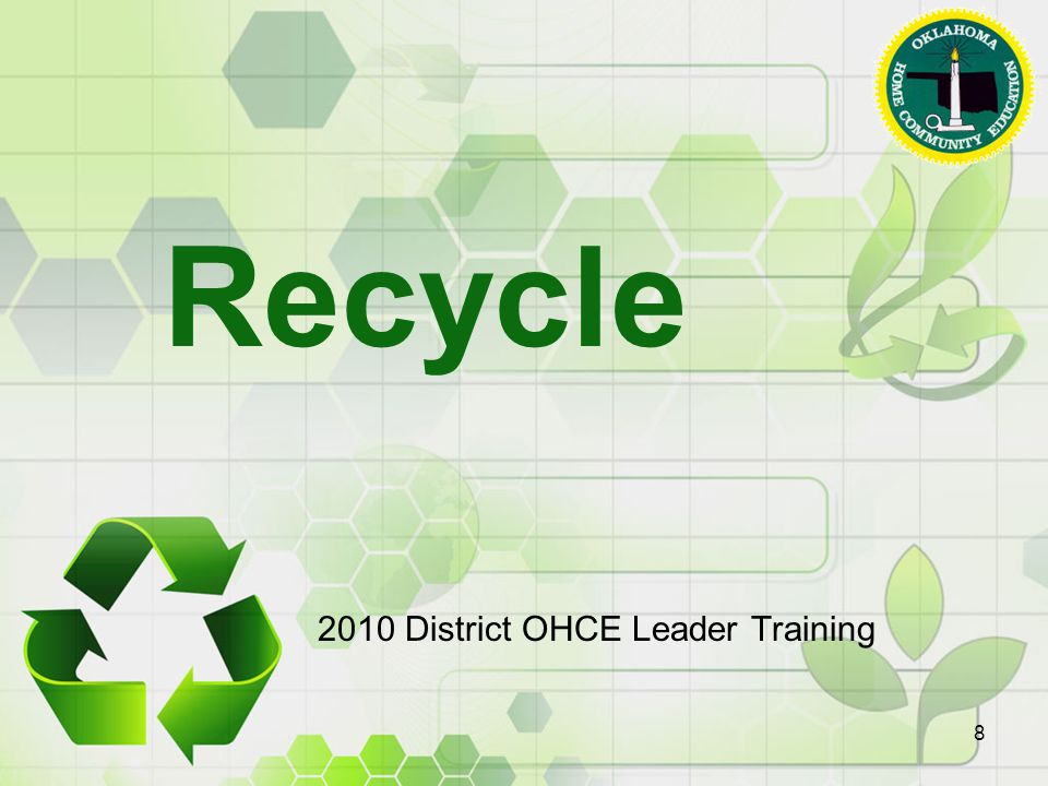 Recycle 2010 District OHCE Leader Training 8