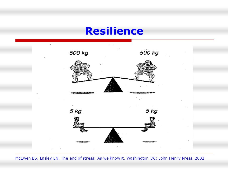 Resilience McEwen BS, Lasley EN. The end of stress: As we know it.