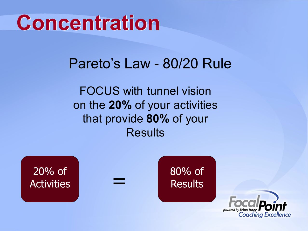 Concentration Pareto's Law - 80/20 Rule FOCUS with tunnel vision on the 20% of your activities that provide 80% of your Results 80% of Results 20% of Activities =