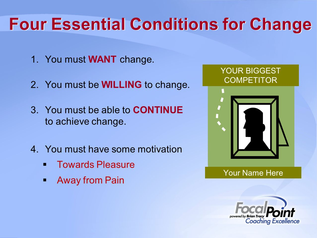 Four Essential Conditions for Change 1.You must WANT change.