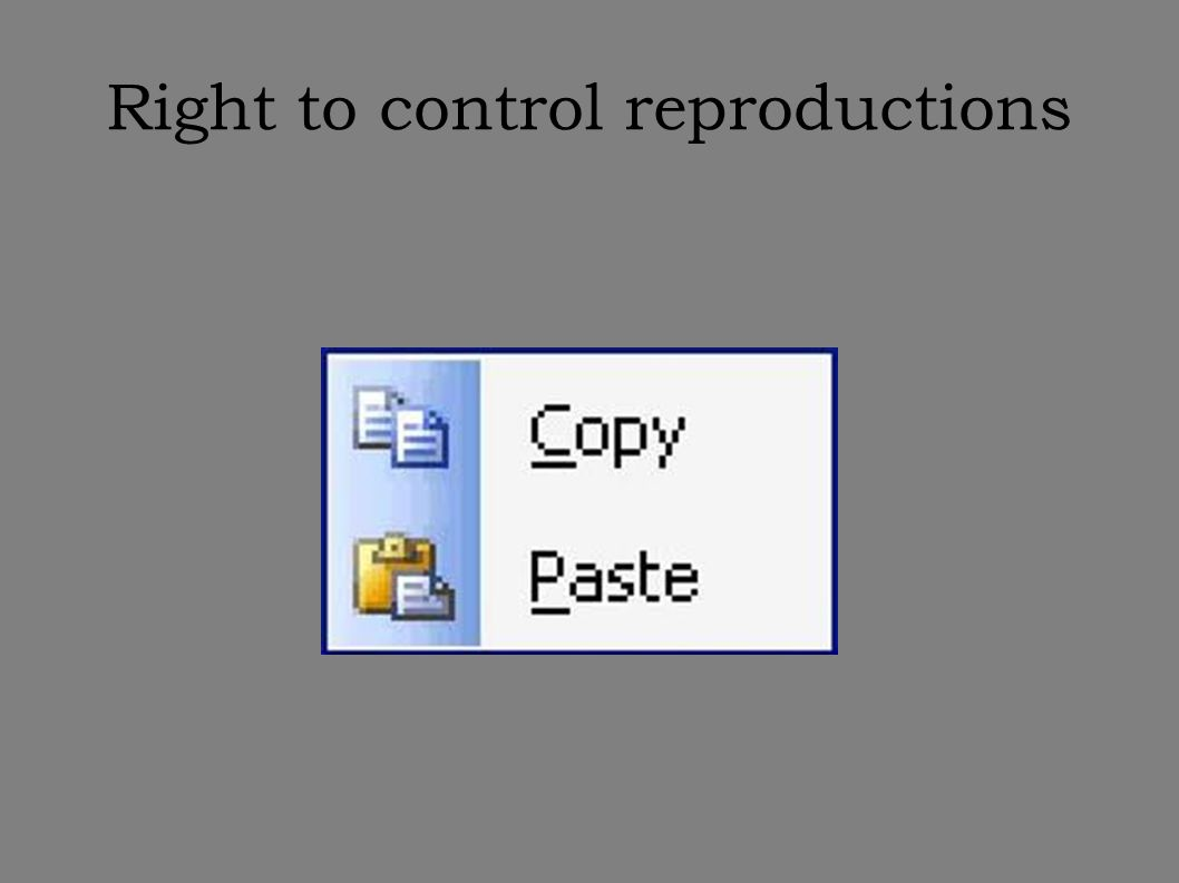 Right to control reproductions