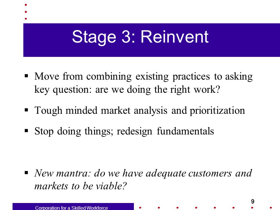 Corporation for a Skilled Workforce 9 Stage 3: Reinvent  Move from combining existing practices to asking key question: are we doing the right work.
