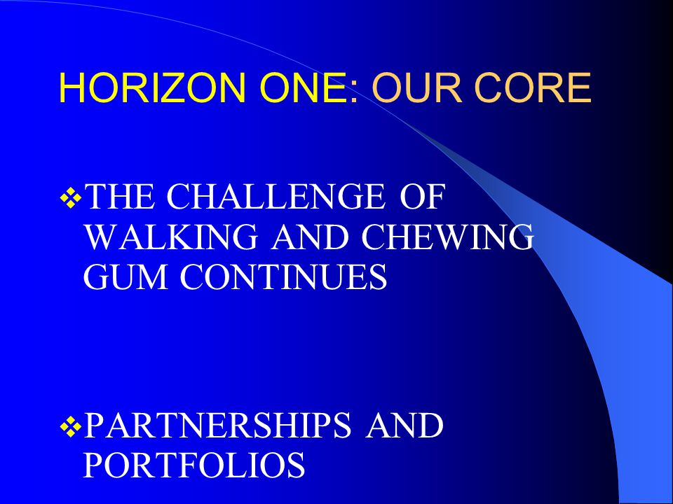 HORIZON ONE: OUR CORE  THE CHALLENGE OF WALKING AND CHEWING GUM CONTINUES  PARTNERSHIPS AND PORTFOLIOS