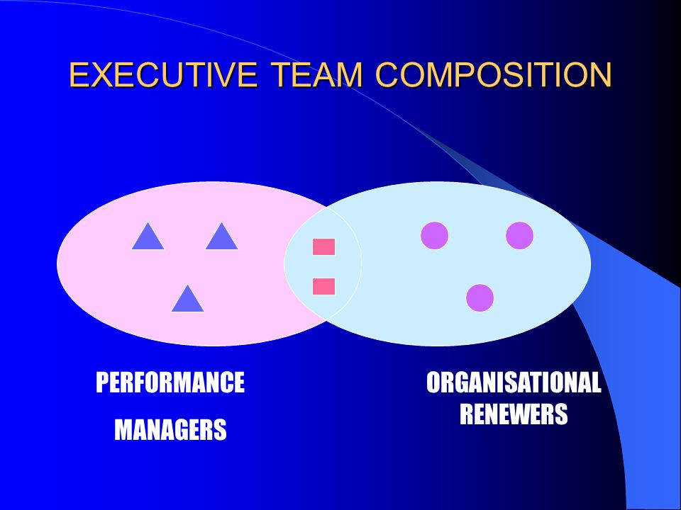 EXECUTIVE TEAM COMPOSITION PERFORMANCE MANAGERS ORGANISATIONAL RENEWERS