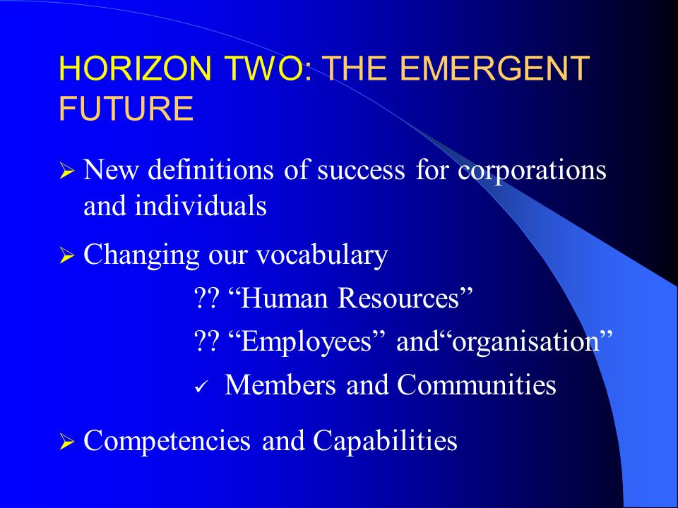 HORIZON TWO: THE EMERGENT FUTURE  New definitions of success for corporations and individuals  Changing our vocabulary .