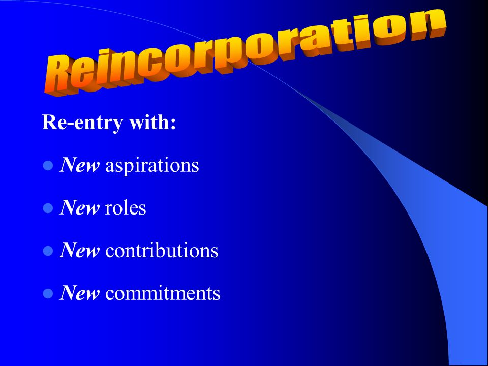 Re-entry with: New aspirations New roles New contributions New commitments