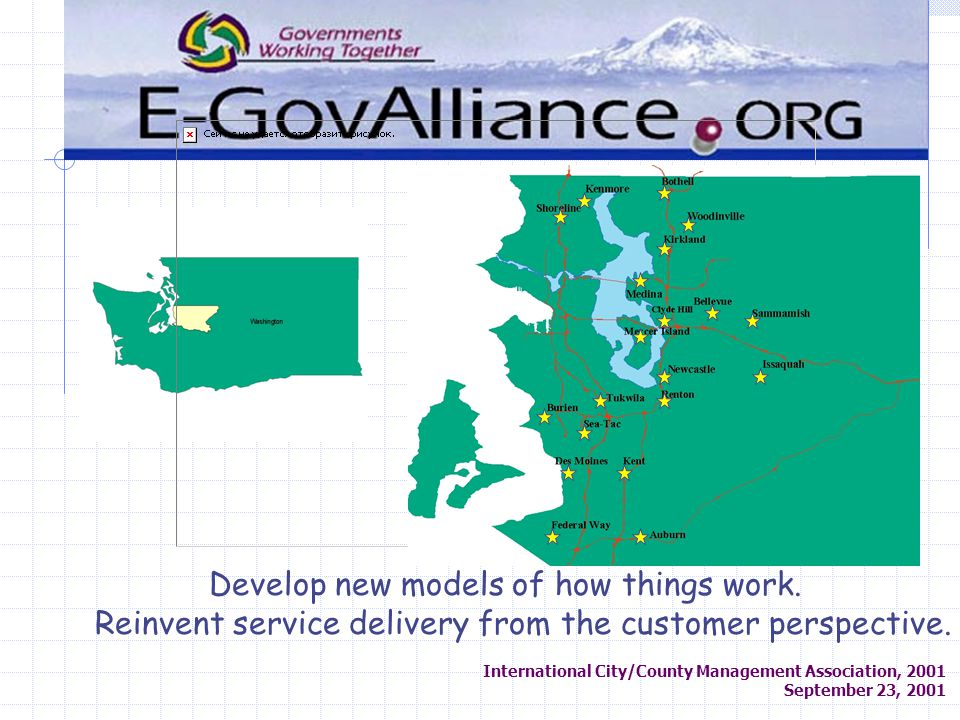 International City/County Management Association, 2001 September 23, 2001 Develop new models of how things work.