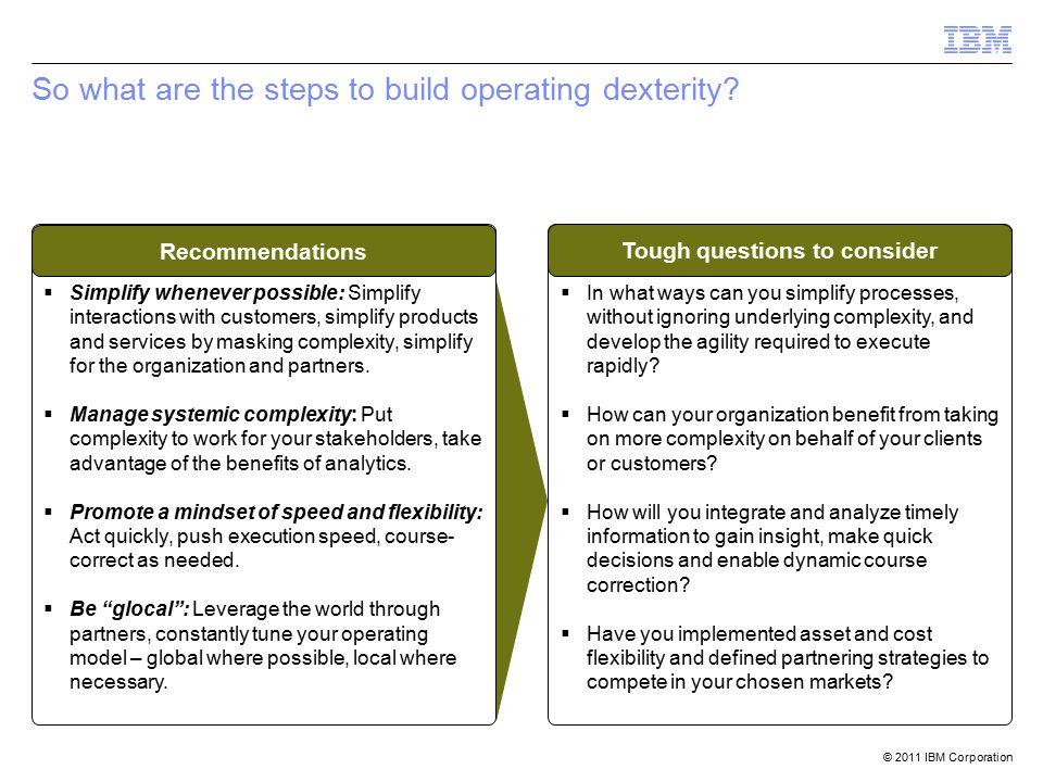 © 2011 IBM Corporation So what are the steps to build operating dexterity.