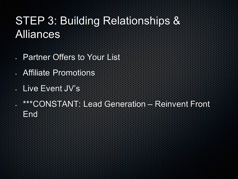 STEP 3: Building Relationships & Alliances Partner Offers to Your List Partner Offers to Your List Affiliate Promotions Affiliate Promotions Live Even