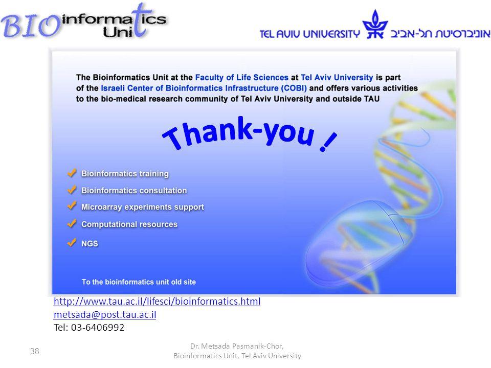 http://www.tau.ac.il/lifesci/bioinformatics.html metsada@post.tau.ac.il Tel: 03-6406992 38 Dr.