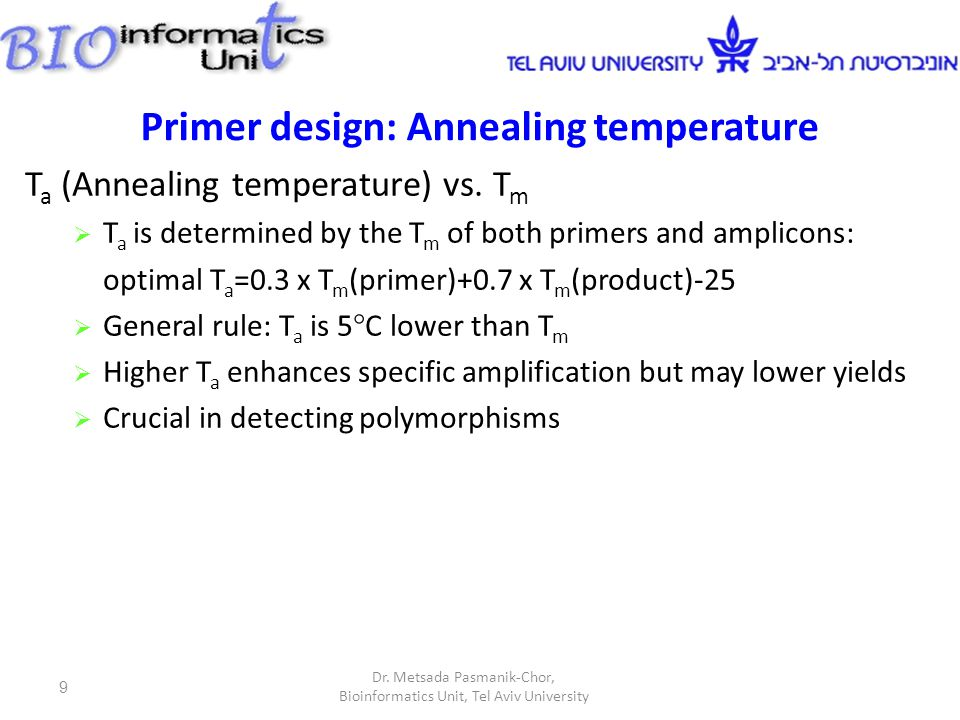 Primer design: Annealing temperature T a (Annealing temperature) vs. T m  T a is determined by the T m of both primers and amplicons: optimal T a =0.