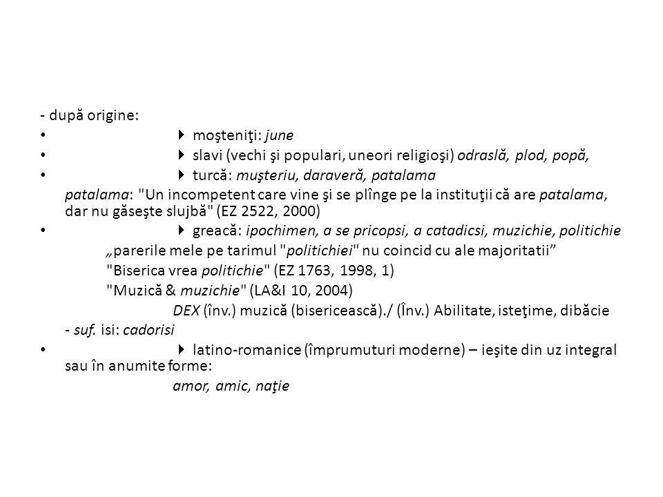  sursa intertextual ă : cuvinte şi sintagme citate şi parafrazate; aluzii şi citate - din literatur ă, discurs oficial; rolul şcolii (canonul) - sursa : ironic ă / serioas ă - Caragiale: misie, catindat, adrisant, comersant, cestiune/cestie, docoment, rezon, boboru' (unele sunt ale epocii, dar foarte probabil cunoscute prin textele lui Caragiale) - Eminescu - Blaga – mioritic Exemple: [politicienii noştri] au de îndeplinit misii înalte (ACaţ 7, 1997, 1) - ocupat cu misiile sale planetare (fcsteaua.ro); - misie grea pentru prim ă rie - PNL pare preocupat de gasirea unui catindat (sorin-tudor.ro) - aplauzele au de fapt un alt adrisant (romanialibera.ro) - justeţea puzderiilor de premii acordate de puzderia de comitete şi comiţii pentru puzderie de rezonuri nu întotdeauna valorice (Cotid.