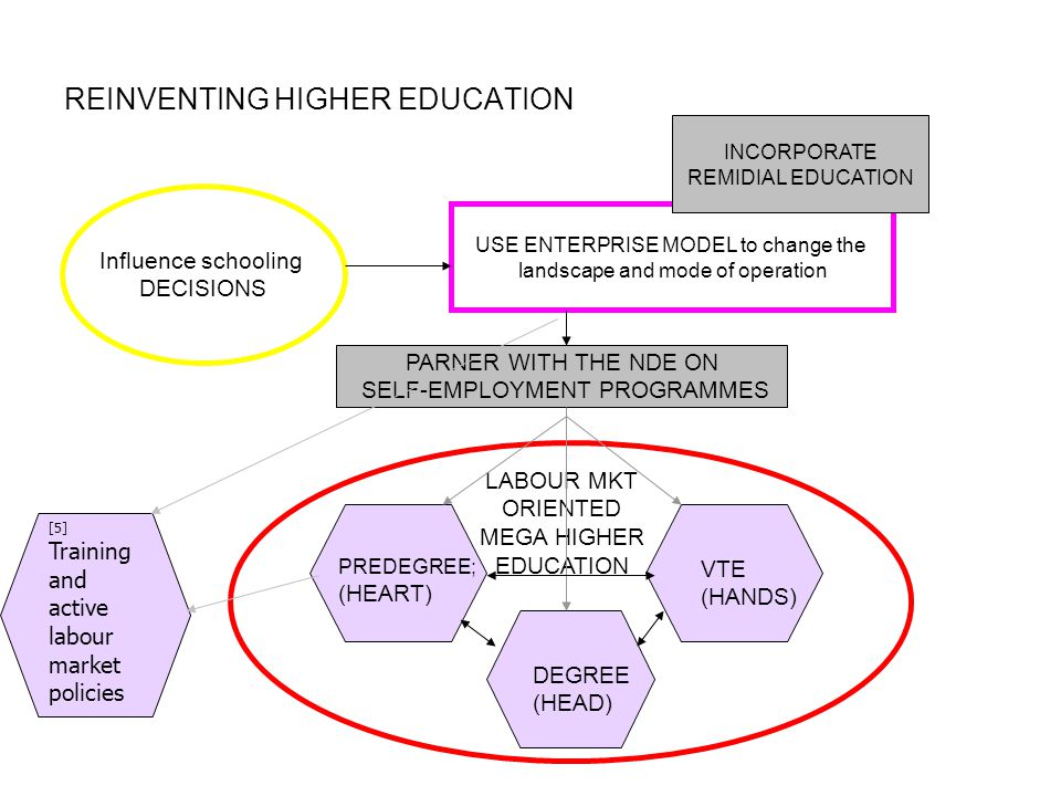 REINVENTING HIGHER EDUCATION USE ENTERPRISE MODEL to change the landscape and mode of operation PARNER WITH THE NDE ON SELF-EMPLOYMENT PROGRAMMES [5] Training and active labour market policies LABOUR MKT ORIENTED MEGA HIGHER EDUCATION DEGREE (HEAD) VTE (HANDS) PREDEGREE; (HEART) Influence schooling DECISIONS INCORPORATE REMIDIAL EDUCATION
