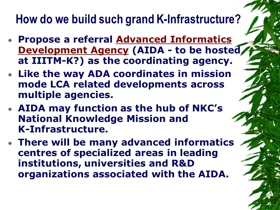 How do we build such grand K-Infrastructure.