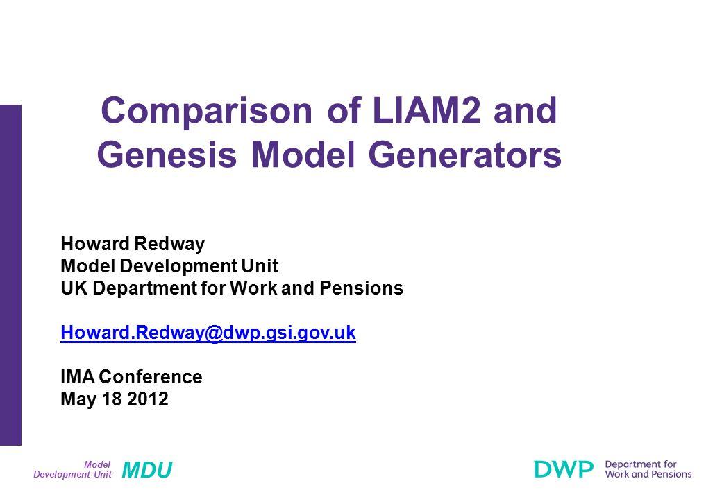 MDU Development Unit Model Structure of a Model: Genesis (1) Genesis Model Engine SAS Program Static Code Developers Own SAS Parameters Excel Spreadsheets Output Base Data Log