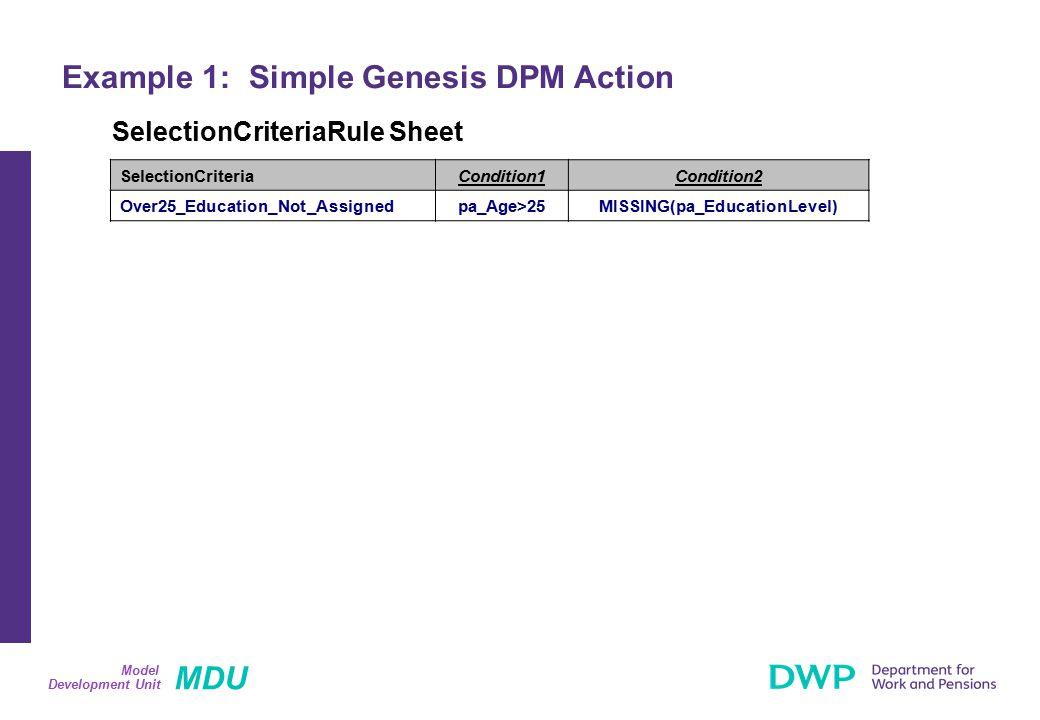 MDU Development Unit Model Example 1: Simple Genesis DPM Action SelectionCriteriaRule Sheet SelectionCriteriaCondition1Condition2 Over25_Education_Not