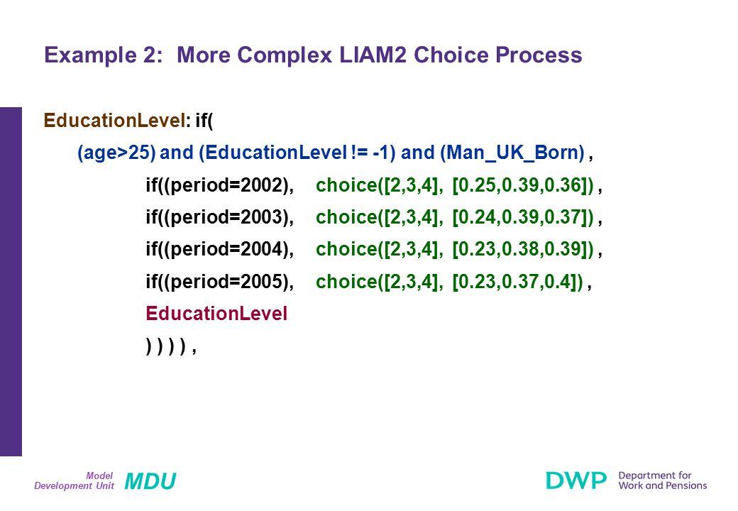 MDU Development Unit Model EducationLevel: if( (age>25) and (EducationLevel != -1) and (Man_UK_Born), if((period=2002),choice([2,3,4],[0.25,0.39,0.36]