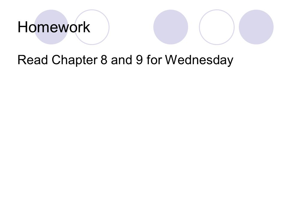 Homework Read Chapter 8 and 9 for Wednesday