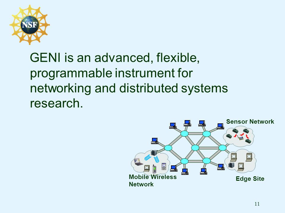 11 GENI is an advanced, flexible, programmable instrument for networking and distributed systems research.