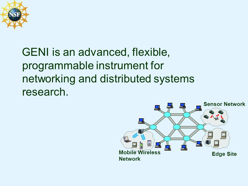 GENI is an advanced, flexible, programmable instrument for networking and distributed systems research. Mobile Wireless Network Sensor Network Edge Si