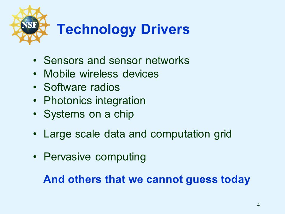 4 Technology Drivers Sensors and sensor networks Mobile wireless devices Software radios Photonics integration Systems on a chip Large scale data and