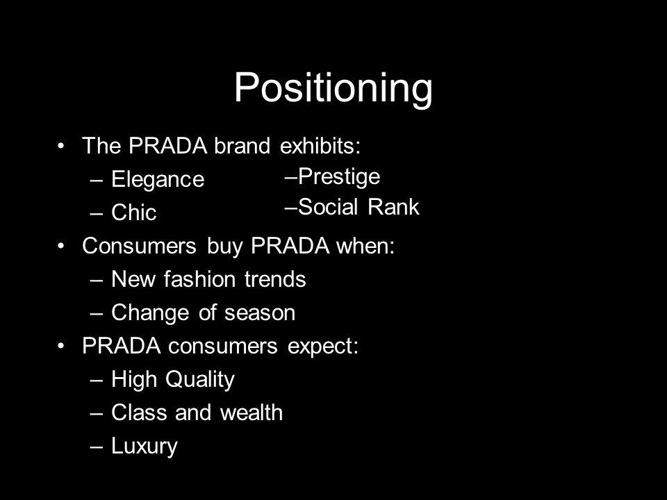 Positioning The PRADA brand exhibits: –Elegance –Chic Consumers buy PRADA when: –New fashion trends –Change of season PRADA consumers expect: –High Qu