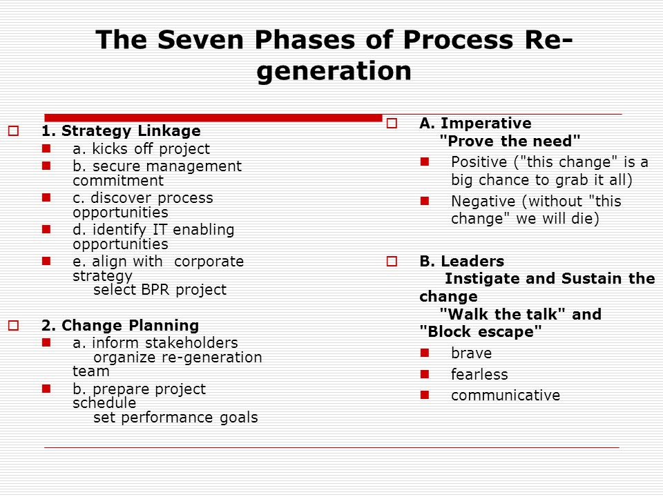 The Seven Phases of Process Re- generation  1. Strategy Linkage a.