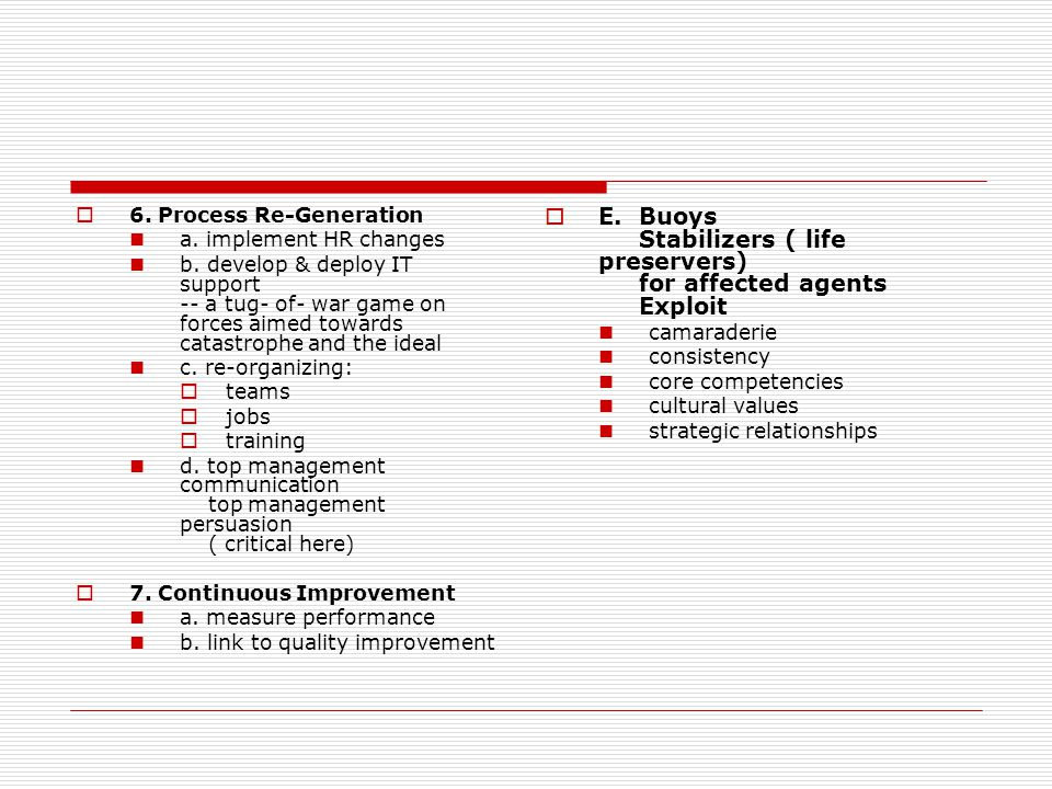  6. Process Re-Generation a. implement HR changes b.